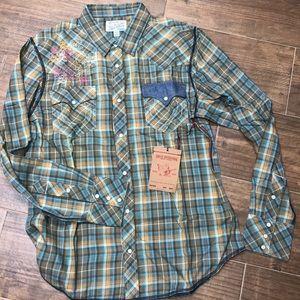 NWT True religion plaid button up shirt
